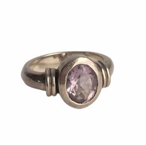 Vintage Amethyst Sterling Silver Ring Oval Cut